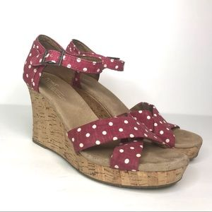 Toms wedges sandals polka dot 10 ankle strap